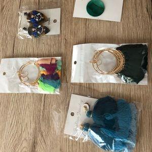 Set of 5 colorful Earrings